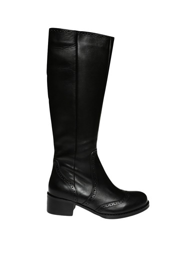 İnci İnci Fermuarlı  Çizme Siyah